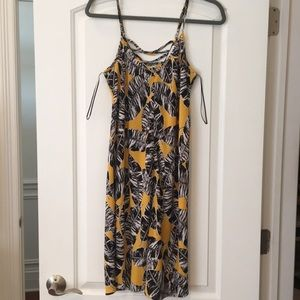 Olive and oak yellow and black leaf dress